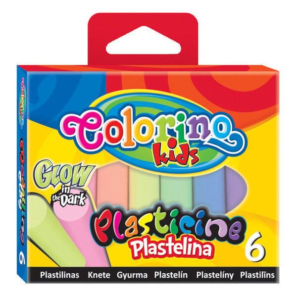 Tumsā spīdošs plastilīns COLORINO, 6 krāsas cena un informācija | Kancelejas preces | 220.lv