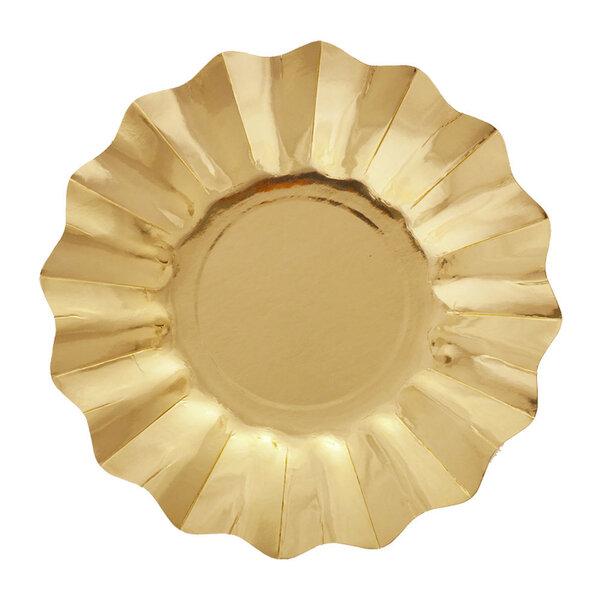 Šķivji - Ziedi, Zelta 8 gab./27 cm cena un informācija | Svētku dekorācijas un vienreizlietojamie trauki | 220.lv
