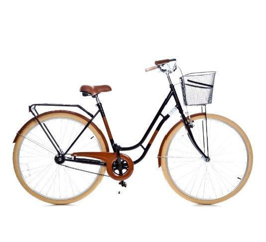 Sieviešu pilsētas velosipēds GRUNBERG Holland single speed, melns/brūns cena un informācija | Velosipēdi | 220.lv