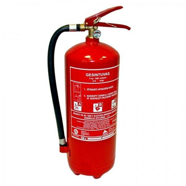 Pulvera ugunsdzēšamais aparāts 6 kg GES6 cena un informācija | Pirmās palīdzības aptieciņas, ugunsdzēšamie aparāti | 220.lv