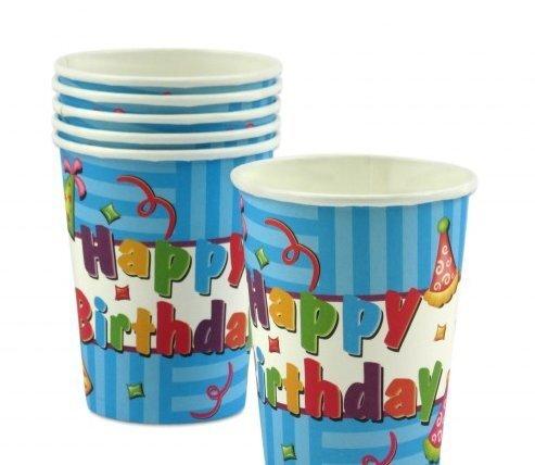 Vienreizējās glāzes Happy Birthday 6 gab. cena un informācija | Svētku dekorācijas un vienreizlietojamie trauki | 220.lv