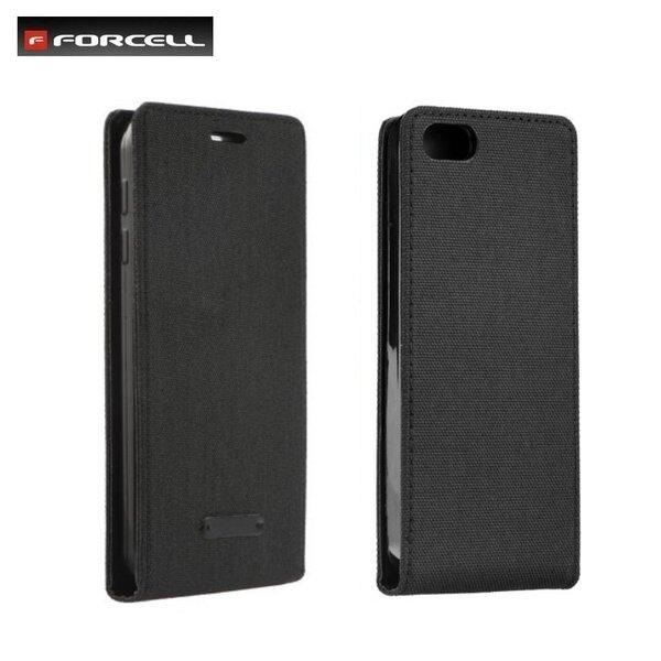 Forcell Canvas Flexi vetikāli atverams maks grāmata Samsung G935F Galaxy S7 Edge Melns cena un informācija | Maciņi, somiņas | 220.lv