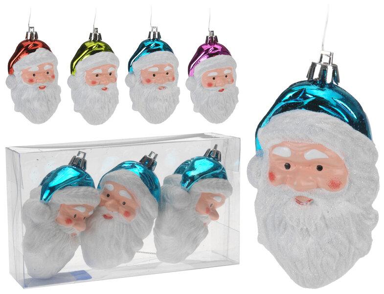Eglītes rotājumi - Santa 3 gab. cena un informācija | Ziemassvētku dekori un eglīšu rotājumi | 220.lv