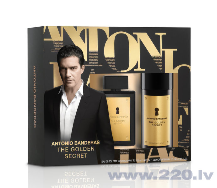Комплект Antonio Banderas The Golden Secret: edt 100 мл + дезодорант 150 мл цена и информация | Vīriešu smaržas | 220.lv