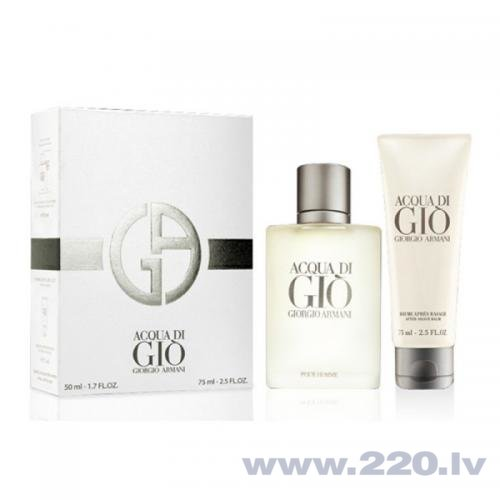 Комплект Giorgio Armani Acqua di Gio Pour Homme: EDT 50 мл + лосьон после бритья 75 мл цена и информация | Vīriešu smaržas | 220.lv
