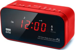Muse CR120R FM / PLL clock radio, Red, 0.6-inch LED display with adjustable light intensity