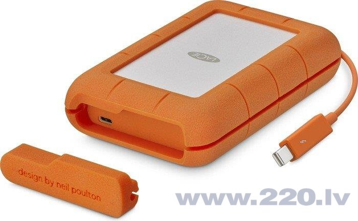 LACIE RUGGED 2TB Thunderbolt USB-C 2.5inch SSD performance 510MB/s shock/dust/water resistant