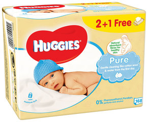 Mitrās salvetes Huggies Pure Single, 168 gab.