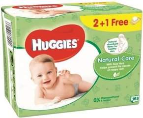 Mitrās salvetes Huggies Natural Care 168 gab.