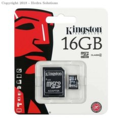 Kingston MicroSDHC 16GB Class4 + SD adapteri