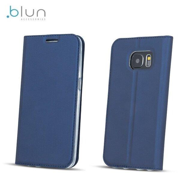 Sāniski atverams maciņš Blun Premium Matt Eco-leather Smart Magnetic Fix Book Case priekš Huawei P8 Lite (2017) / P9 Lite (2017), Zils