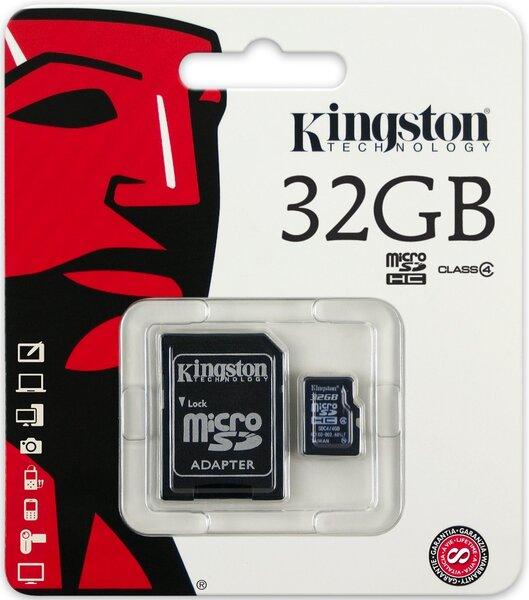 Kingston MicroSDHC 32GB Class4 + SD adapteri cena un informācija | Atmiņas kartes | 220.lv