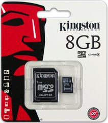 Kingston microSDHC 8GB Class4 + SD adapteris