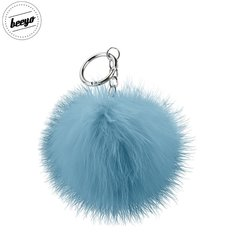 Piekariņš Beeyo Soft Fluffy Ring the Pompom & Smartphone Finger Holder and Stand Gadget zils/sudrabs