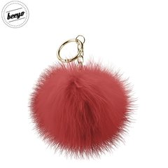 Piekariņš Beeyo Soft Fluffy Ring the Pompom & Smartphone Finger Holder and Stand Gadget sarkans/zelta