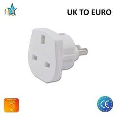 HQ Power Plug adapteris UK (United Kingdom) 3pin to Euro Socket - UK to EU White (OEM)