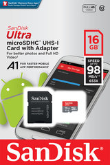 Atmiņas karte Sandisk 16GB Ultra Android microSDHC + SD adapteris + Memory Zone App 98MB/s A1 Class 10 UHS-I