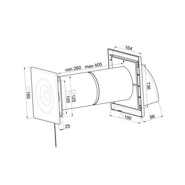 Mini rekuperators Awenta, HRV100 100 mm, balts