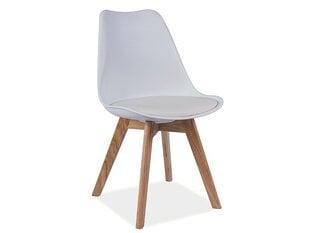 4 krēslu komplekts Kris, balts/ozols cena un informācija | Virtuves un ēdamistabas krēsli | 220.lv