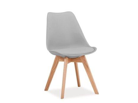 4 krēslu komplekts Kris, gaiši pelēka/ozols cena un informācija | Virtuves un ēdamistabas krēsli | 220.lv