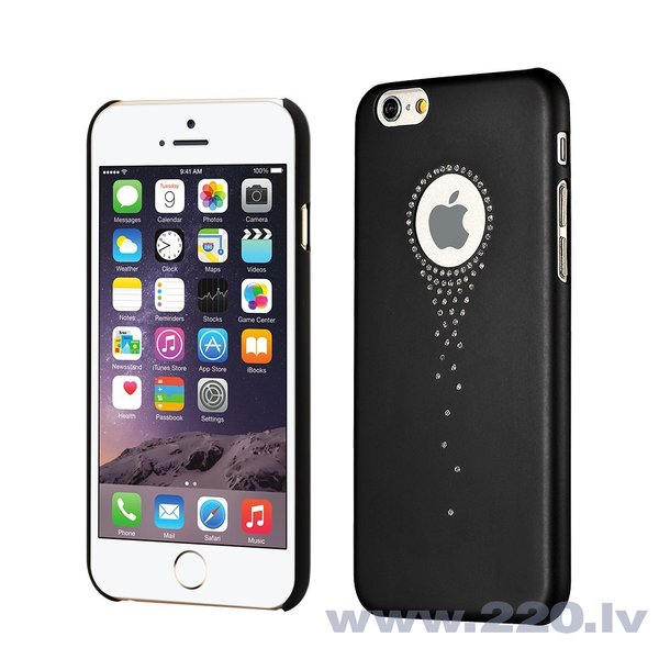 X-Fitted Plastic Case With Swarovski Crystals for Apple iPhone 6 / 6S Black / Stars Fall