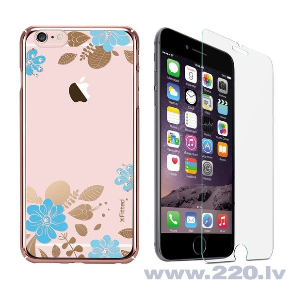 X-Fitted Plastic Case With Swarovski Crystals for Apple iPhone 6 / 6S Pink / Blue Flower lētāk