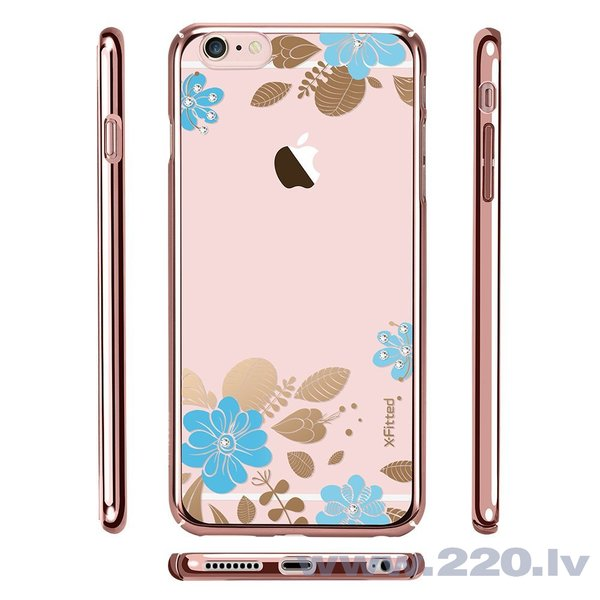 X-Fitted Plastic Case With Swarovski Crystals for Apple iPhone 6 / 6S Pink / Blue Flower