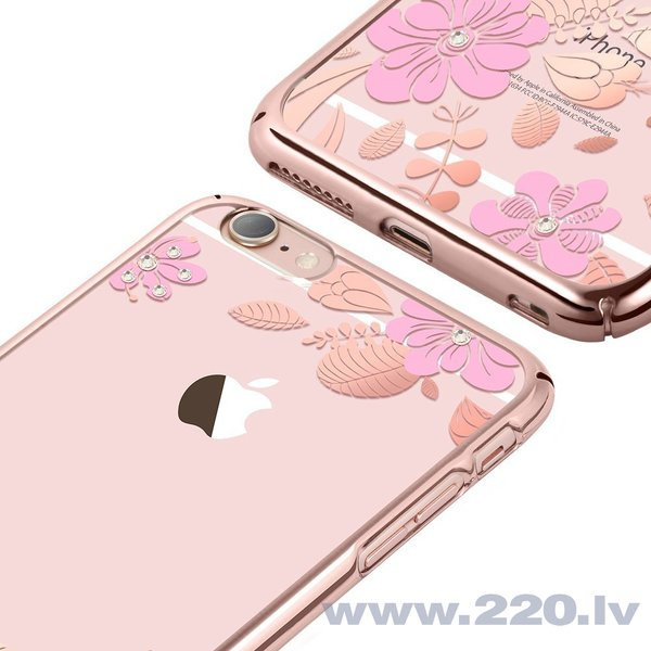 X-Fitted Plastic Case With Swarovski Crystals for Apple iPhone 6 / 6S Pink / Pink Flower atsauksme