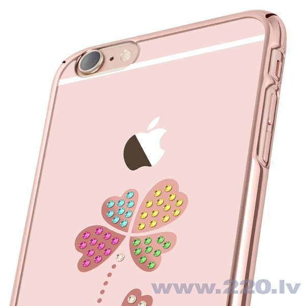 X-Fitted Plastic Case With Swarovski Crystals for Apple iPhone 6 / 6S Rose gold / Lucky Clover