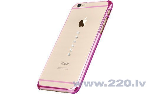 X-Fitted Plastic Case With Swarovski Crystals for Apple iPhone 6 / 6S Pink / Six Stones