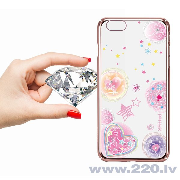 X-Fitted Plastic Case With Swarovski Crystals for Apple iPhone 6 / 6S Rose gold / Pink Dream