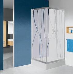 Stūra dušas kabīne Sanplast TX KN/TX5b 80s, profils glancēts sudrabs, caurspīdīgs stikls W0, ar paliktni