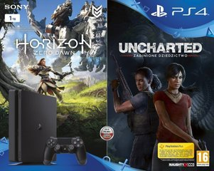 Sony PlayStation 4 (PS4) Slim, 1 TB +Horizon Zero Dawn + Uncharted: The Lost Legacy