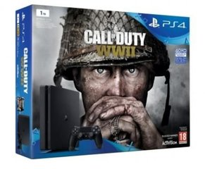 Sony PlayStation 4 (PS4) Slim, 1 TB + Call of Duty: WWII
