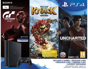 Sony PlayStation 4 (PS4) Slim, 1 TB + GT Sport + Knack 2 + Uncharted: The Lost Legacy
