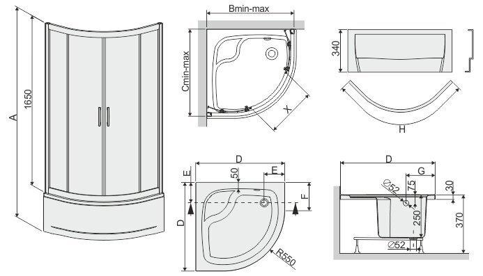 Stūra dušas kabīne Sanplast TX kpl-KP4/TX5b/165 80s, profils balts, dekorēts stikls grey, ar paliktni cena