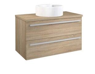 Skapis ar galda virsmu un apaļu izlietni 90 cm, ozols cena un informācija | Vannas istabas skapīši | 220.lv