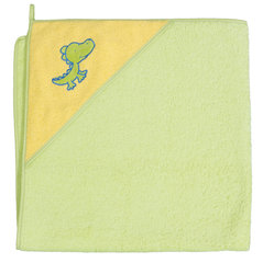 CebaBaby dvielis ar kapuci 100x100 cm, zaļš ar krokodilu