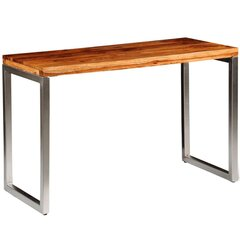 vidaXL virtuves galds, biroja galds, masīvs rožkoks, tērauda kājas cena un informācija | Virtuves galdi, ēdamgaldi | 220.lv