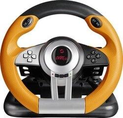 Spēļu stūre ar pārnesumu sviru un pedāļiem Speedlink Drift O.Z. (SL-6695-BKOR-01) cena un informācija | Aksesuāri datorspēlēm | 220.lv