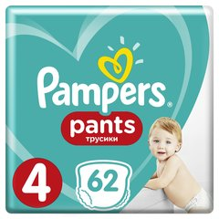 Подгузники PAMPERS Pants Giant Box, 4 размер, 9-15 kg, 62 шт. цена и информация | Подгузники и аксесуары | 220.lv