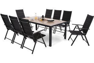 Dārza mēbeļu komplekts Capri 185 cm Black / Sand Ibiza Black / Black 8+1