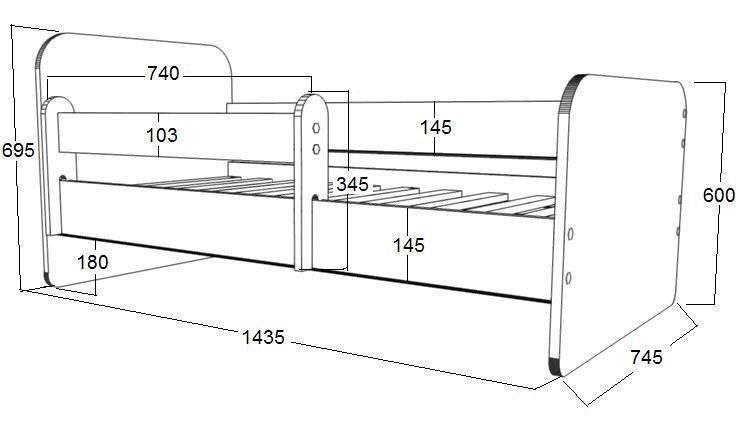 Gulta ar matraci, veļas kasti un noņemamu aizsargmalu Alex 47, 140x70 cm
