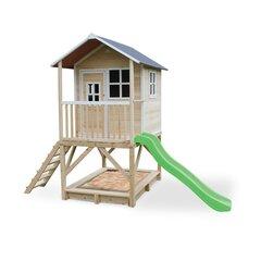 Koka māja ar verandu, slidkalniņu un smilšu kasti, koka krāsa, EXIT Loft 500 (FSC 100%)