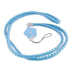 Universāls piekariņš šņorītes veidā Mocco Universal Mobile Stripe Holder / Keychain With Flower, gaiši zils