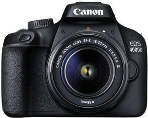 Canon EOS 4000D + 18-55mm III Kit, Juoda