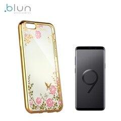 Telefona vāciņš Blun Diamond Flowers, piemērots Samsung Galaxy S9 Plus, caurspīdīgs/zeltains