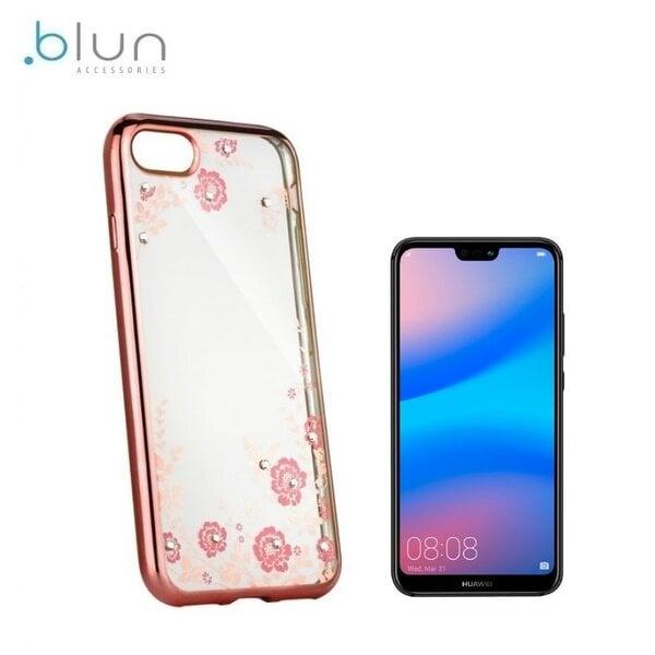 Telefona vāciņš Blun Diamond Flowers, piemērots Huawei P20 Pro / Plus, caurspīdīgs/rozā