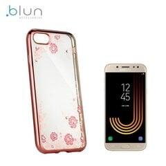 Telefona vāciņš Blun Diamond Flowers, piemērots Samsung J530F Galaxy J5 (2017), caurspīdīgs/rozā cena un informācija | Maciņi, somiņas | 220.lv
