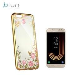 Telefona vāciņš Blun Diamond Flowers, piemērots Samsung J530F Galaxy J5 (2017), caurspīdīgs/zeltains cena un informācija | Maciņi, somiņas | 220.lv